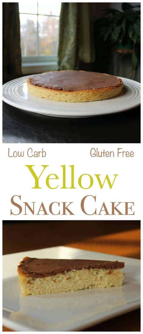 No need to wait for a special occasion to enjoy a sweet slice of heavenly low carb cake. This gluten free cake is just the right size for snacking. For the snack cake, a buttery yellow single cake layer is topped with a rich sugar free chocolate icing.