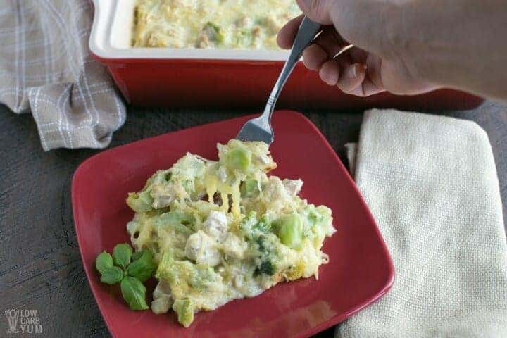 Easy chicken tetrazzini casserole with spaghetti squash