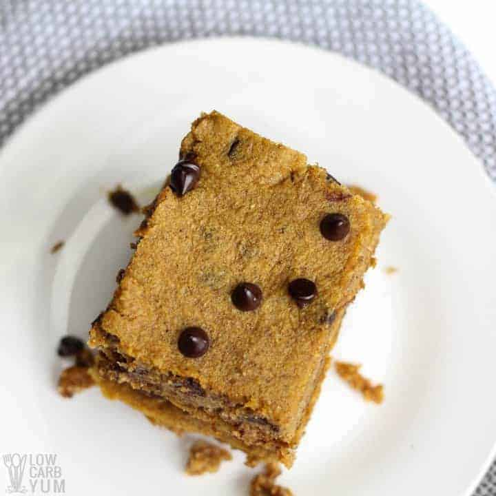 Batch of keto friendly gluten free pumpkin bars