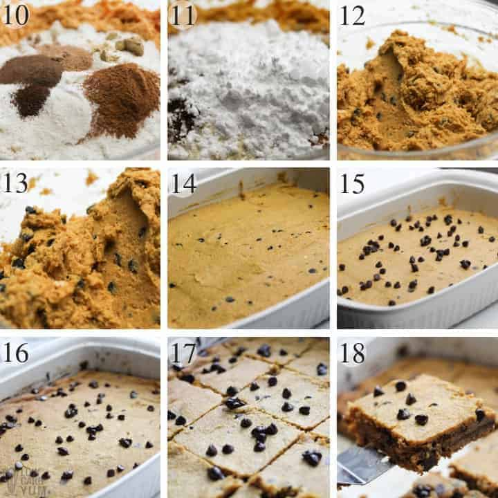 Final steps for making gluten free pumpkin bars