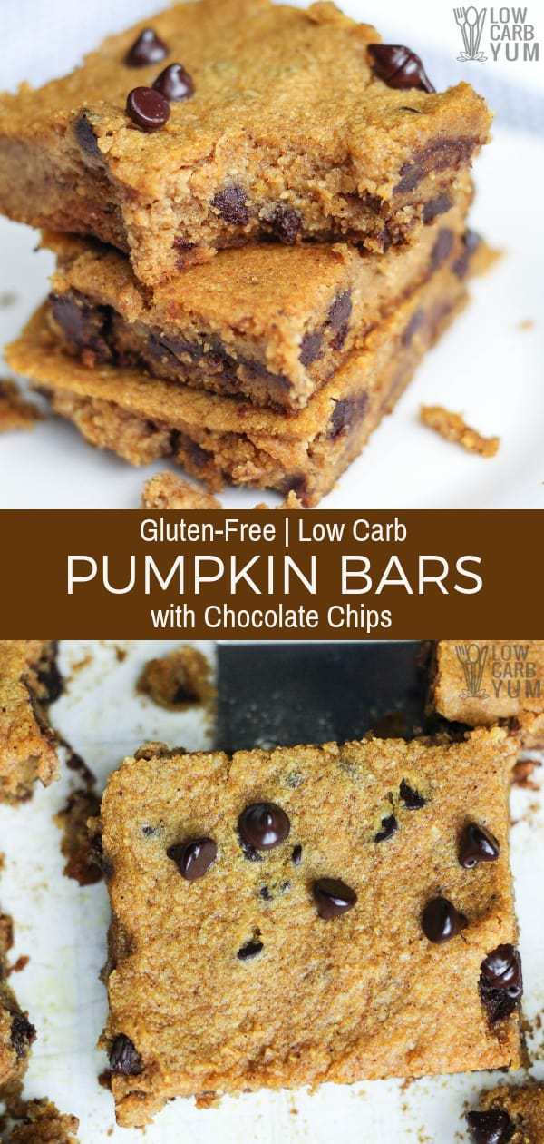 Easy to make low carb gluten free pumpkin bars with chocolate chips that have no sugar added. They're so good even the kids love them. #glutenfree #lowcarb #keto #lowcarbdesserts #ketodesserts #lowcarbrecipes #ketorecipes #weightwatchers #Atkins #pumpkin #pumpkinbars | LowCarbYum.com