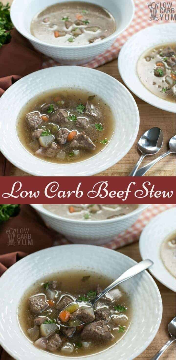 An easy low carb beef stew recipe that uses radish or turnip instead of potatoes. It's a comforting dish that's thick and chock full of vegetables. | LowCarbYum.com