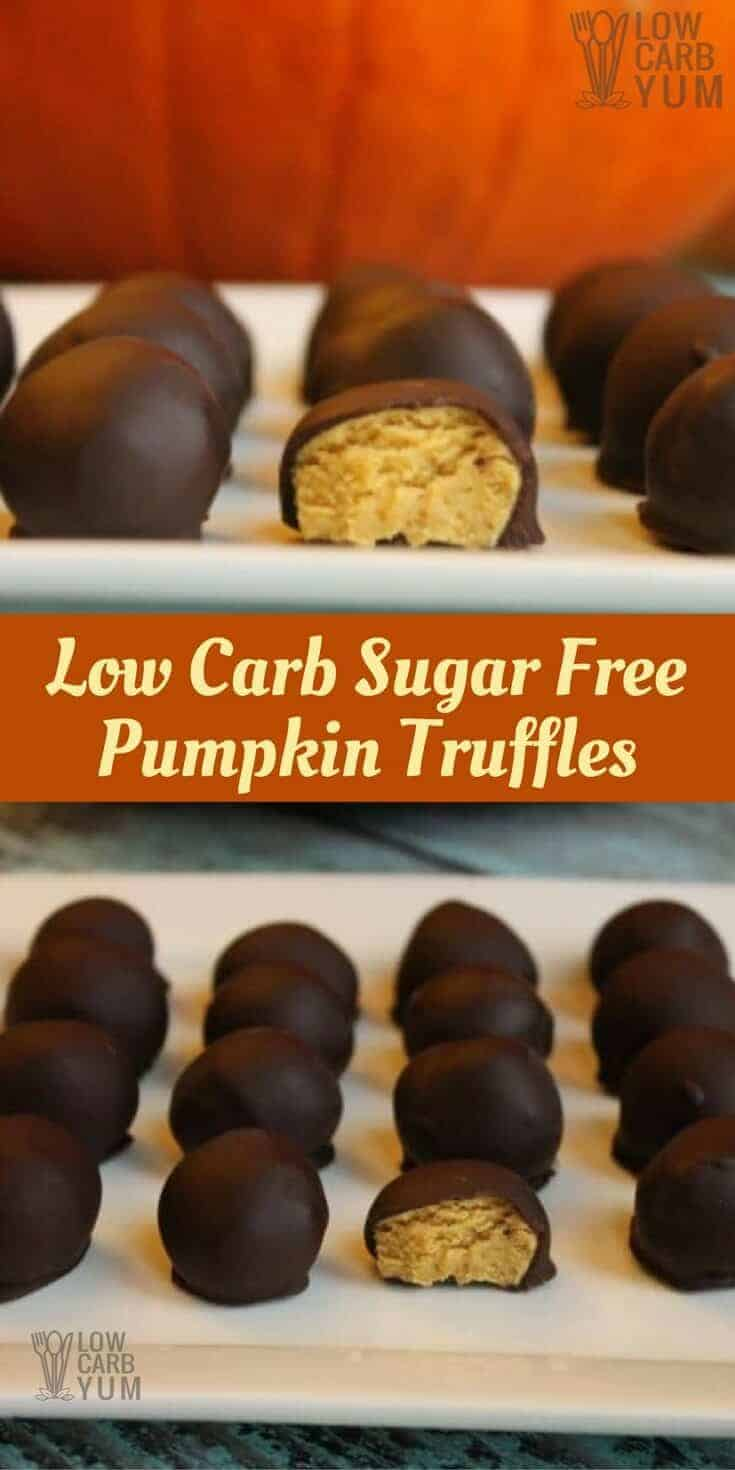 A low carb candy pumpkin truffles recipe is sure to be a hit! It's a sugar free pumpkin ganache covered in a dark chocolate coating. Perfect for Halloween or Thanksgiving.  | LowCarbYum.com