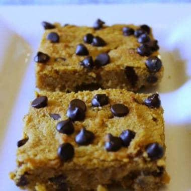 Pumpkin Chocolate Chip Bars – Gluten Free, Sugar Free