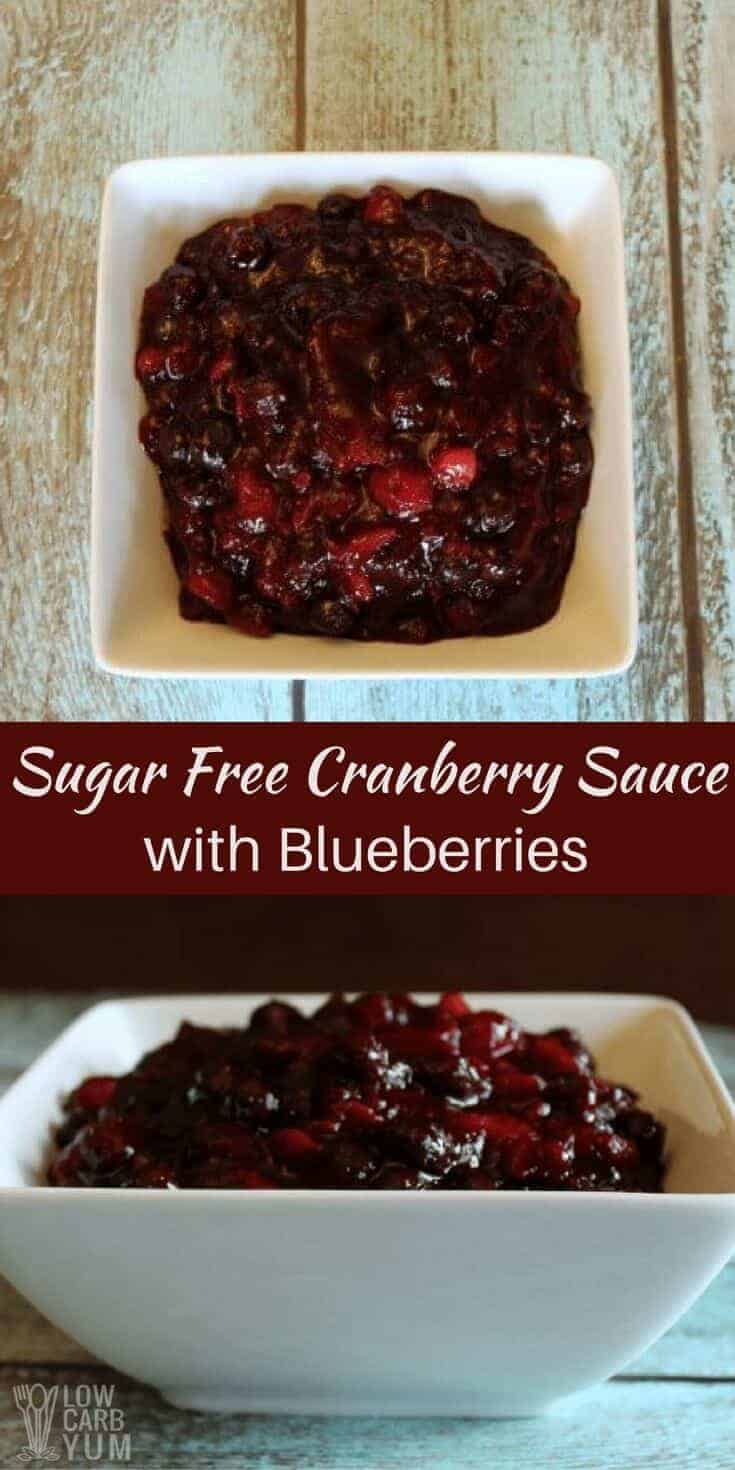 Not a big fan of cranberry sauce? Try a sugar free cranberry sauce with blueberries. It's a tasty low carb alternative for holiday meals. #sugarfree #cranberrysauce #lowcarb | LowCarbYum.com
