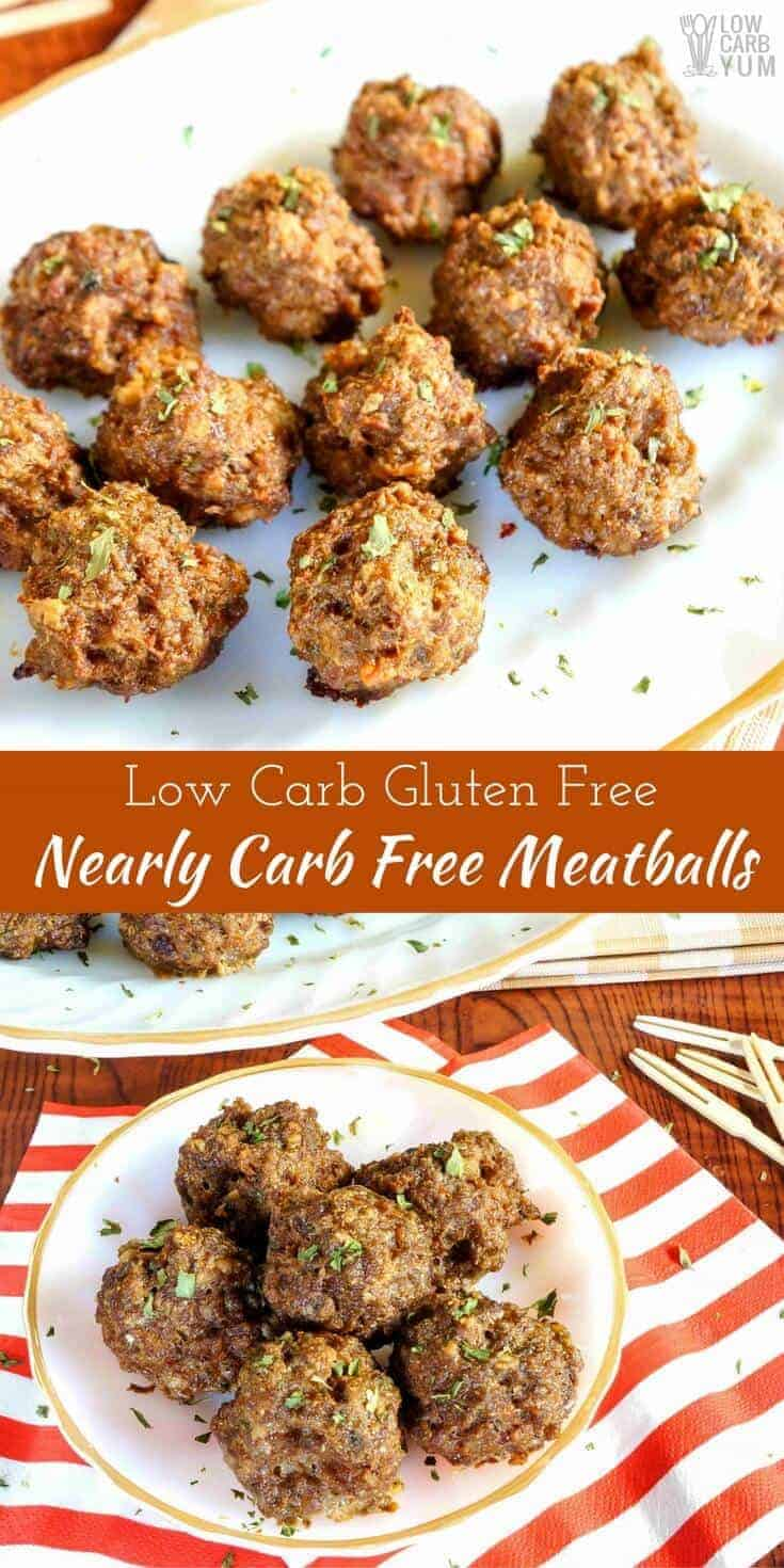 Worried about how many carbs in meatballs? Give these nearly carb free meatballs at try. They're low carb, keto friendly, grain free, and gluten free!