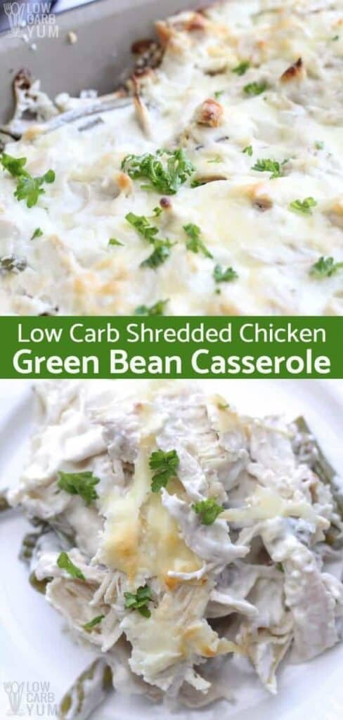Text Low Carb Shredded Chicken Green Bean Casserole