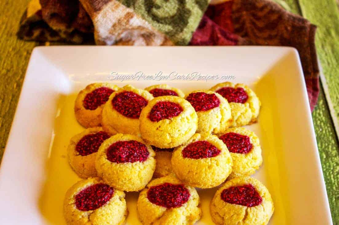 of raspberry chia seed jam on top, these raspberry thumbprint cookies ...