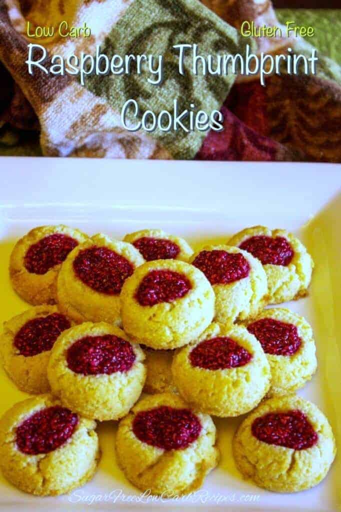 Low carb gluten free thumbprint cookies recipe with raspberry jam