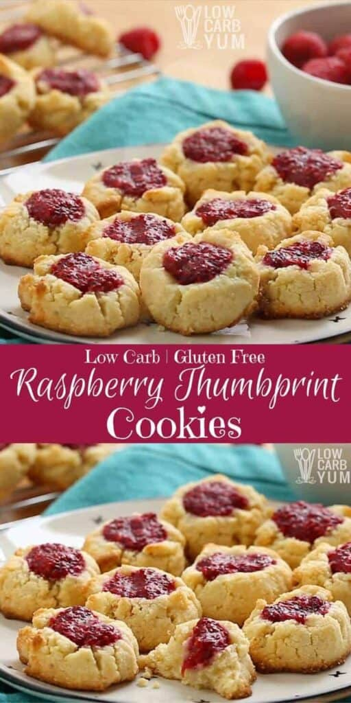 Gluten free thumbprint cookies with low carb raspberry jam