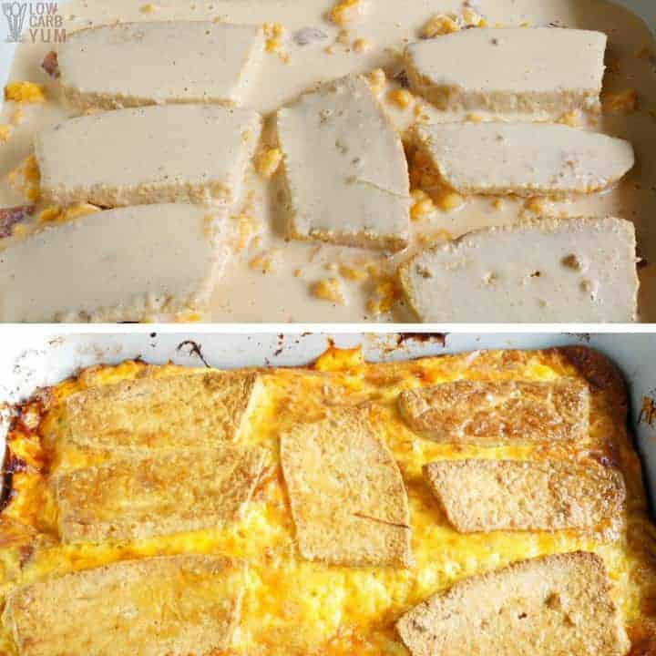 Baking ham and cheese strata casserole