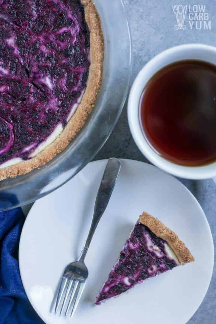 Low carb blueberry swirl cheesecake - gluten free