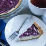 Gluten free low carb blueberry swirl cheesecake