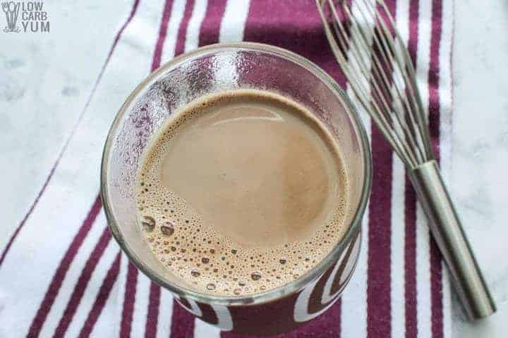Top view of sugar free low carb keto hot chocolate