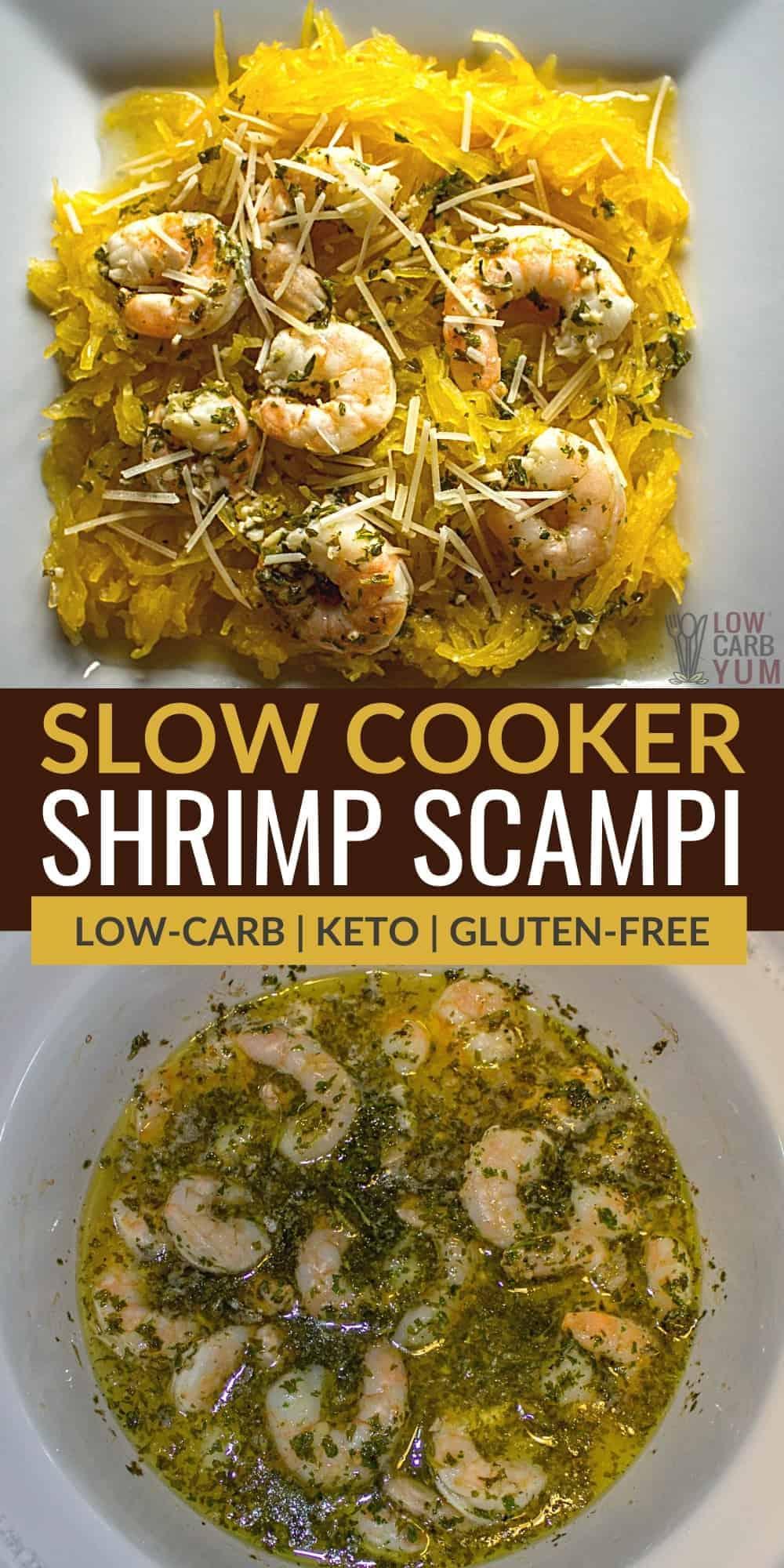 slow cooker crock pot shrimp scampi pinterest image