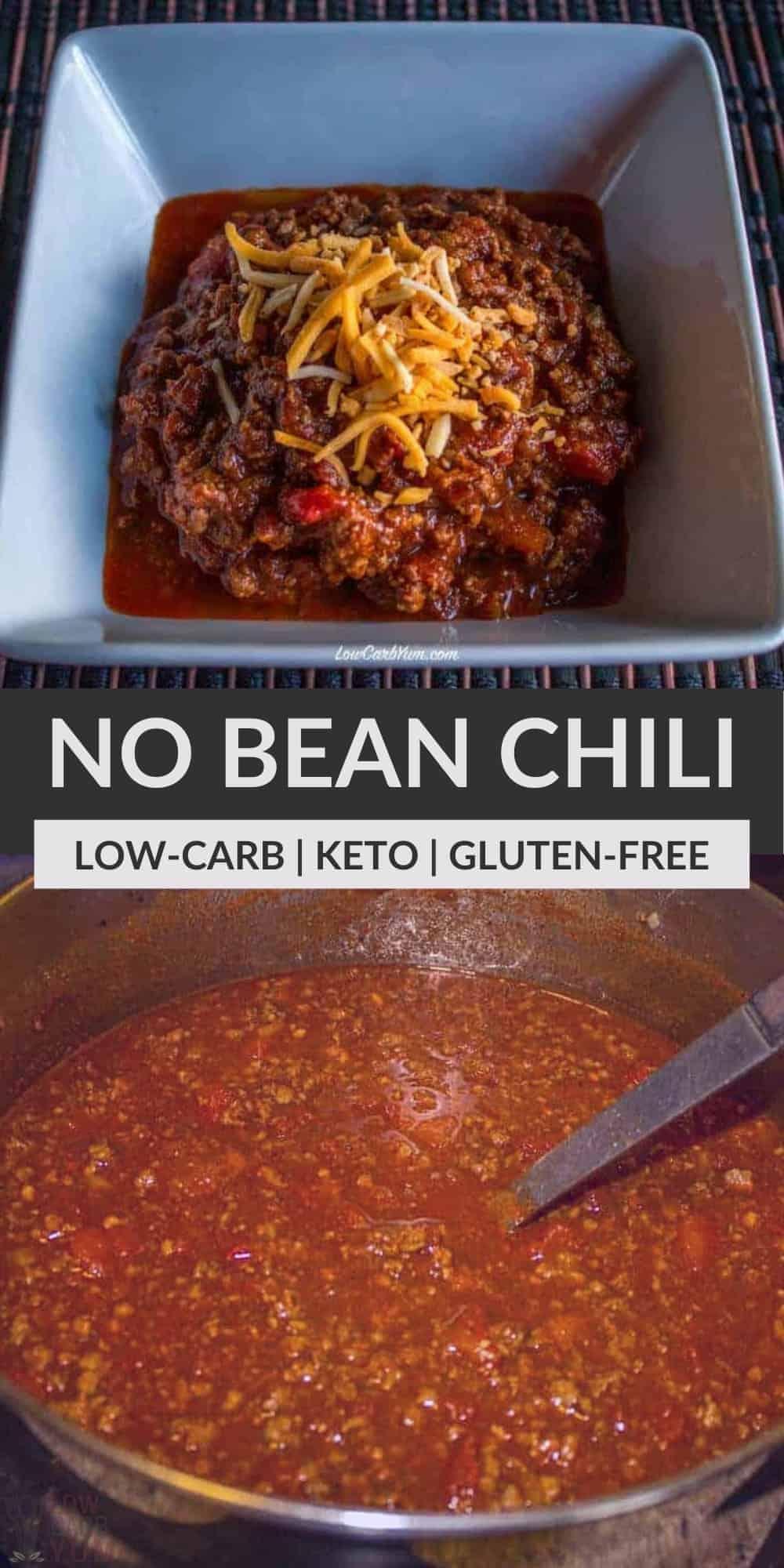 chunky keto no bean chili pinterest image