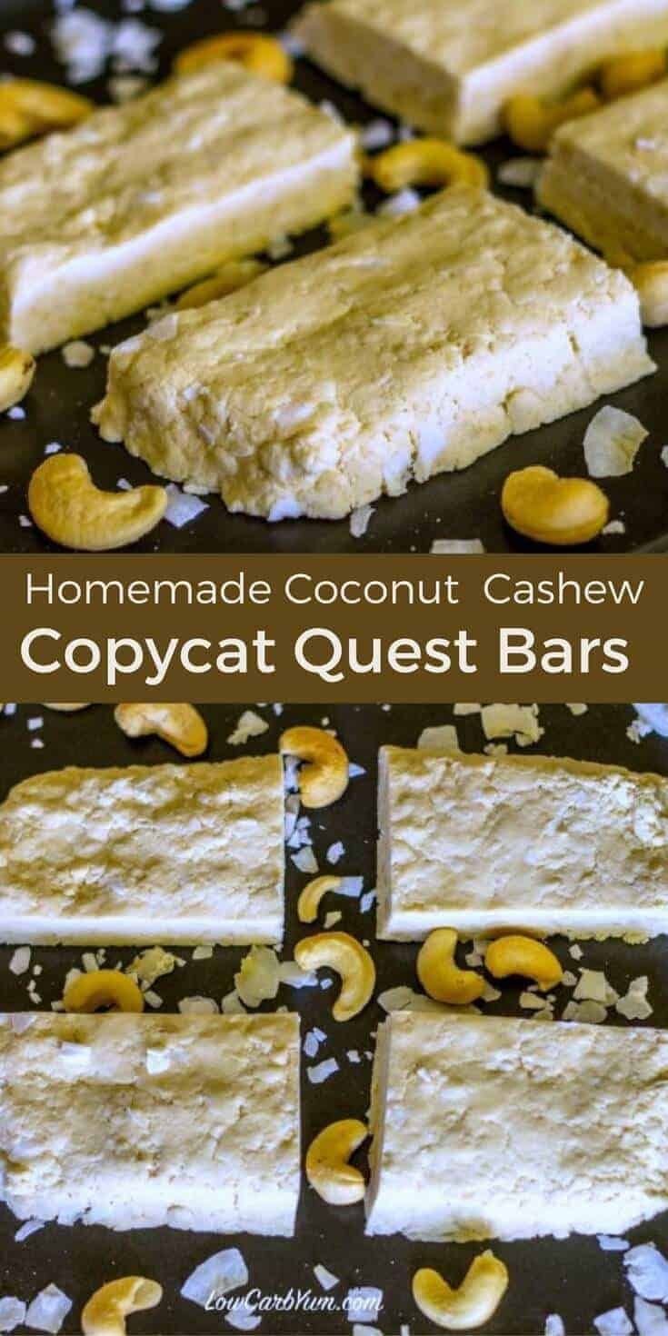 Save money by making this DIY homemade Quest bar recipe. These low carb all natural coconut cashew protein bars are quick and easy to make. | LowCarbYum.com