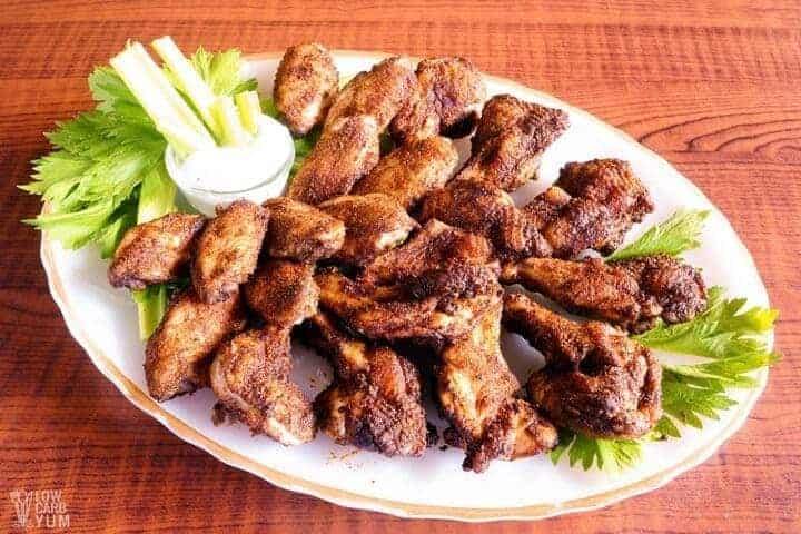 Platter of dry rub chicken wings