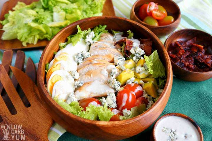Serving a healthy cobb salad recipe