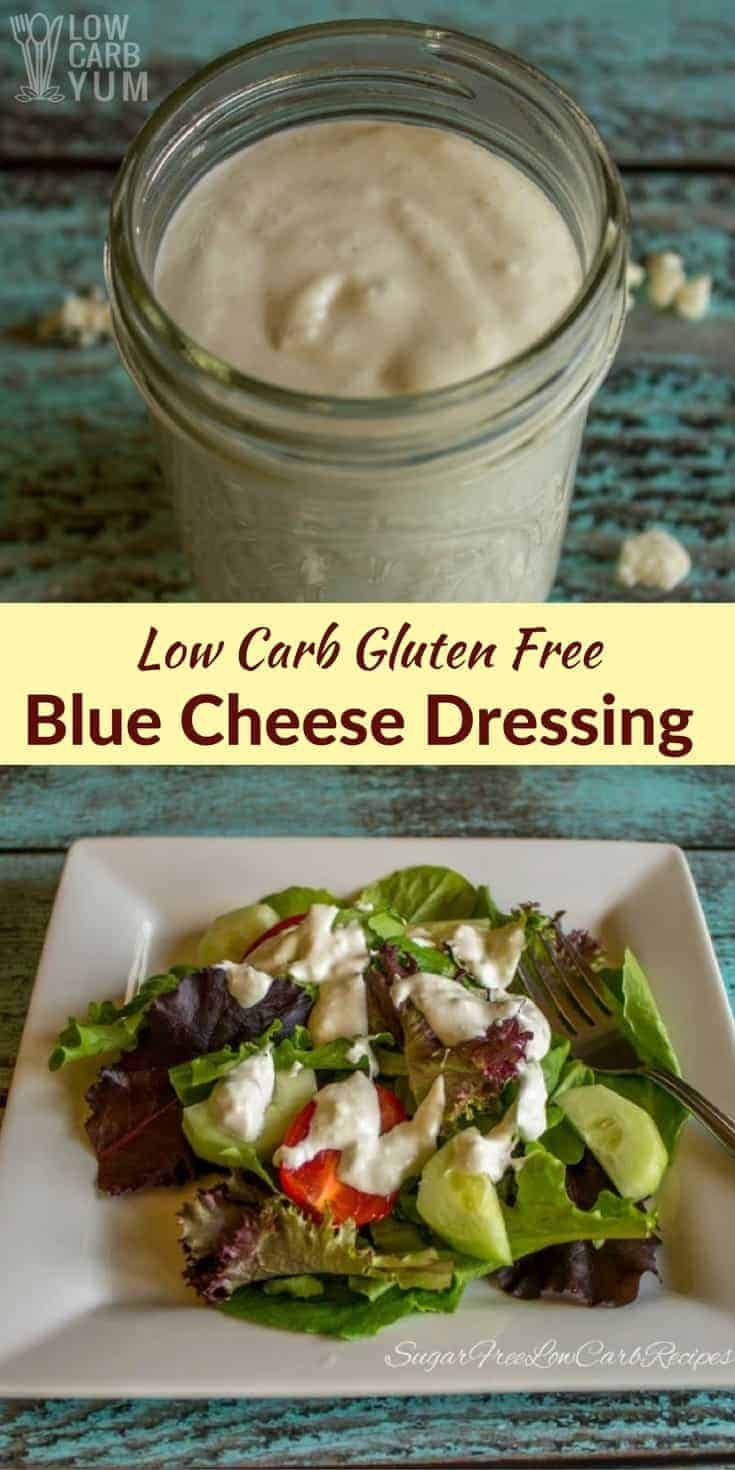 A low carb blue cheese dressing that has plenty of cheese and a touch of sweetness. It's great for dipping hot wings or topping a tossed garden salad. | LowCarbYum.com