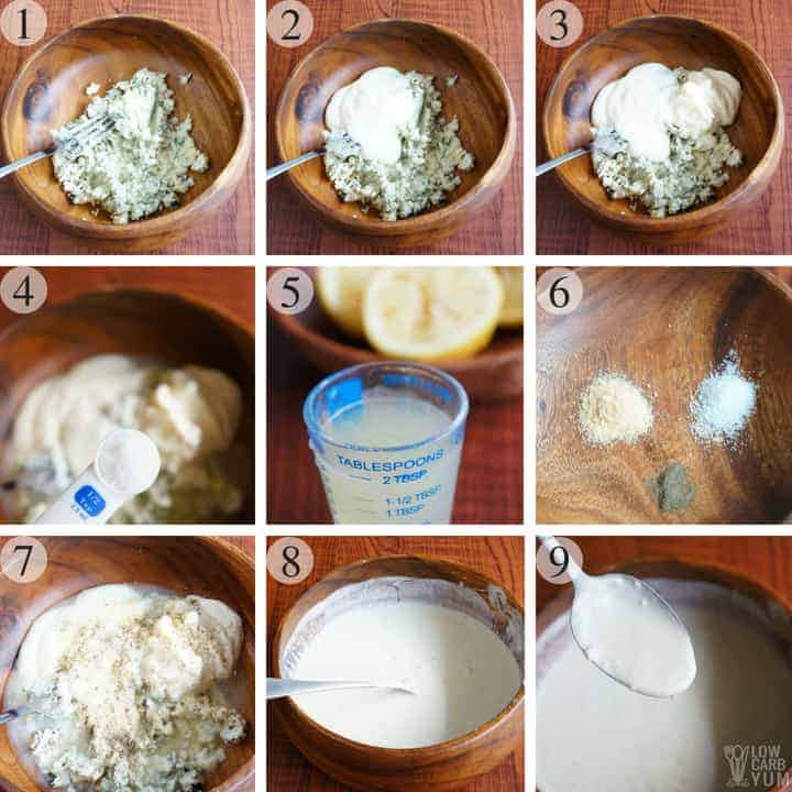 Making your own low carb keto blue cheese dressing