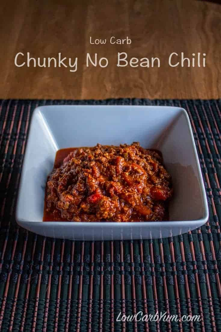 A delicious no bean chili with chunks of diced tomatoes and plenty of protein-rich meat to fill you up. A mix of peppers gives a moderate amount of spice. #chili #lowcarb | LowCarbYum.com