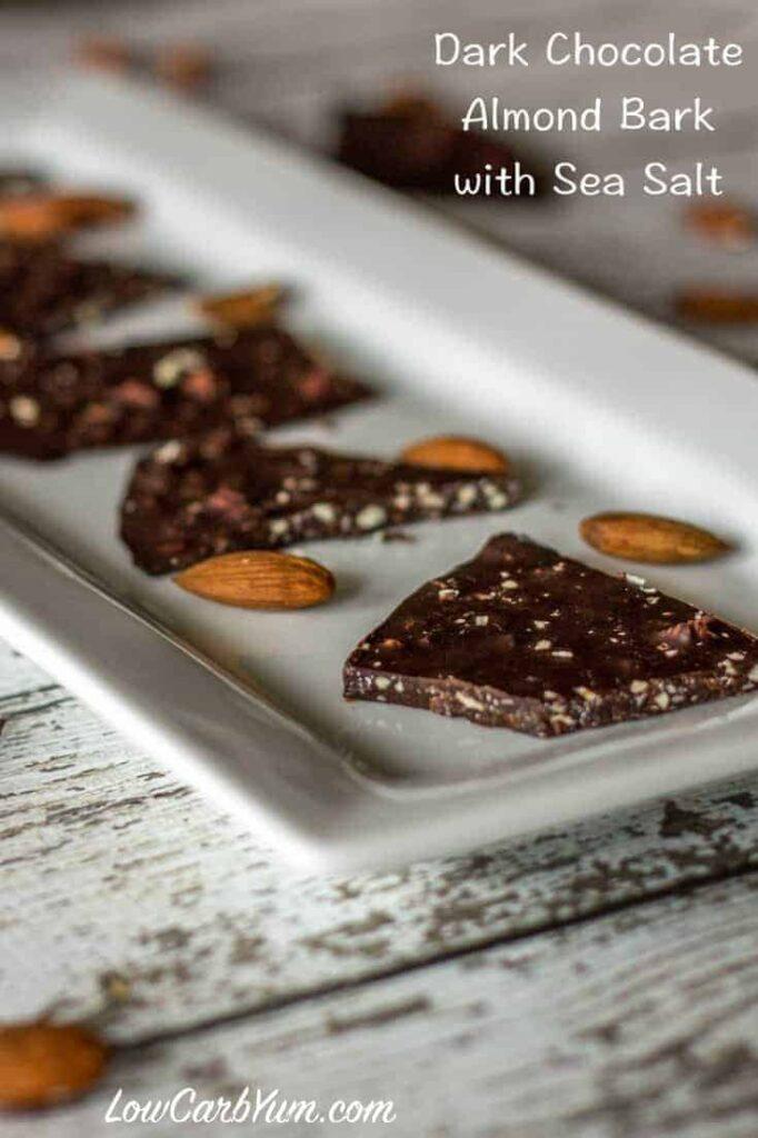 Pin Text Dark Chocolate Almond Bark with Sea Salt