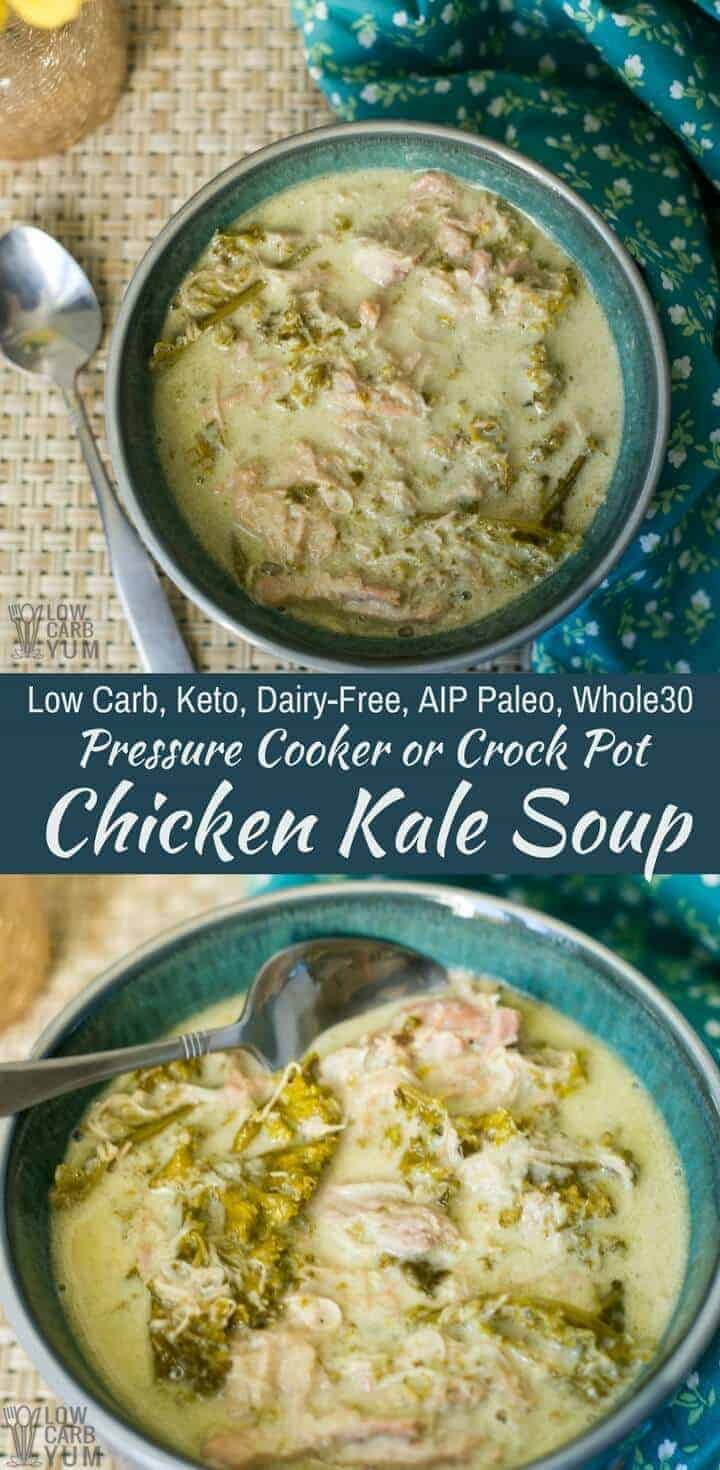 This #CrockPot or pressure cooker chicken kale soup recipe is healthy and hearty. It's #lowcarb, #keto, #dairyfree, #AIPpaleo, and #Whole30 friendly. | LowCarbYum.com