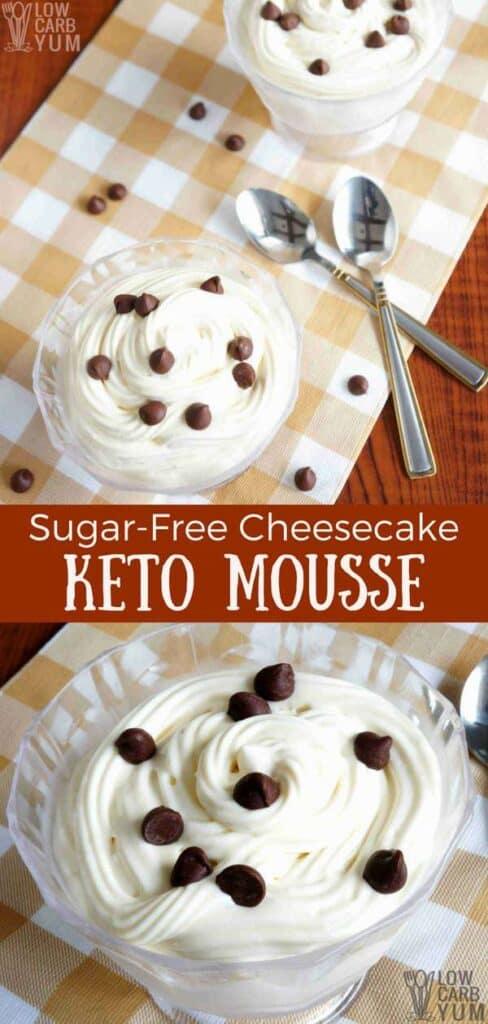 Low carb sugar free cheesecake keto mousse recipe