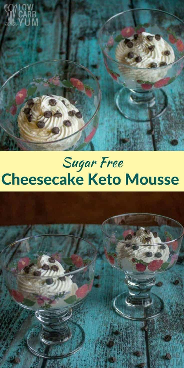 A light and airy sugar free cheesecake keto mousse recipe that's quick and easy to prepare. This low carb dessert is great with chocolate or fruit sauce.