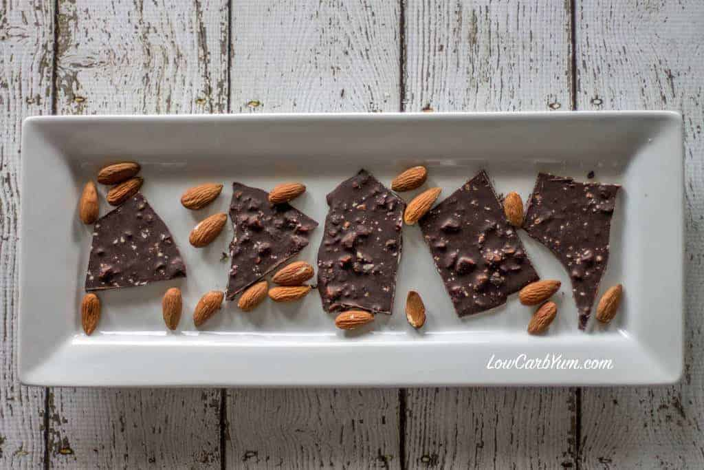 This easy recipe for low carb dark chocolate almond bark with sea salt ...