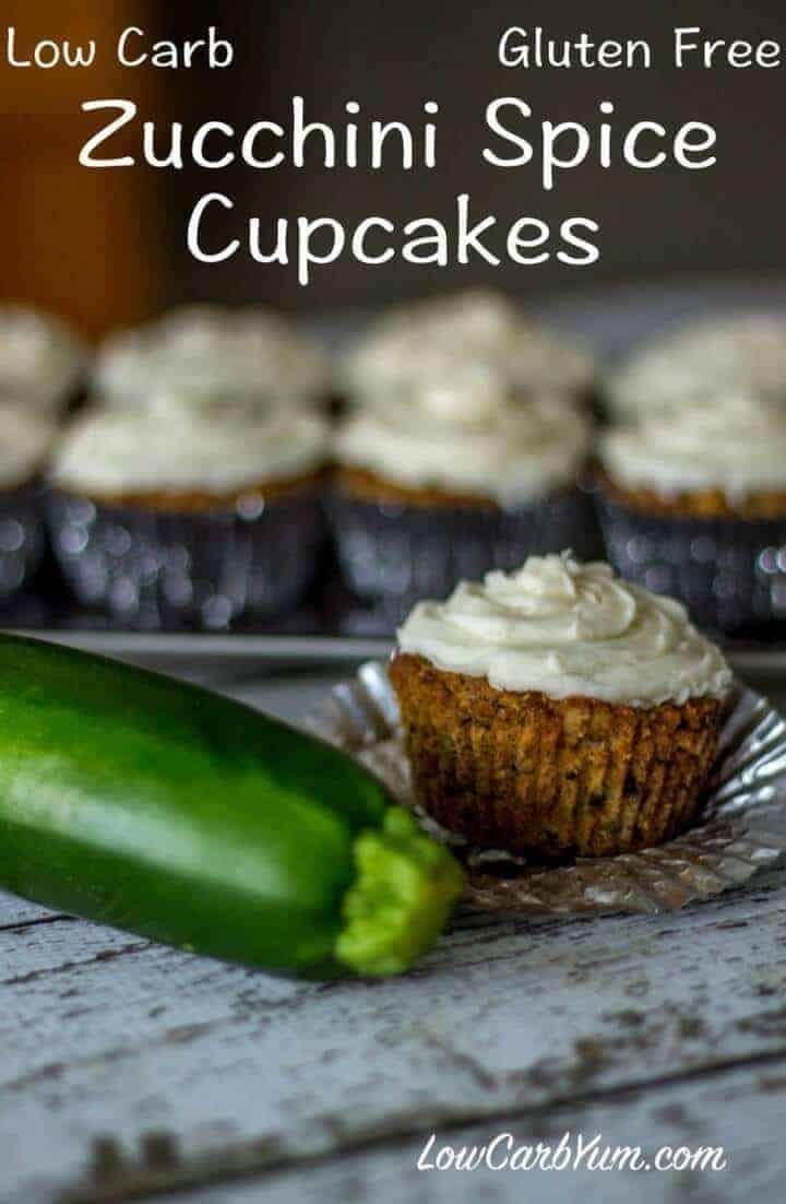 Low carb gluten free zucchini spice cake cupcakes recipe