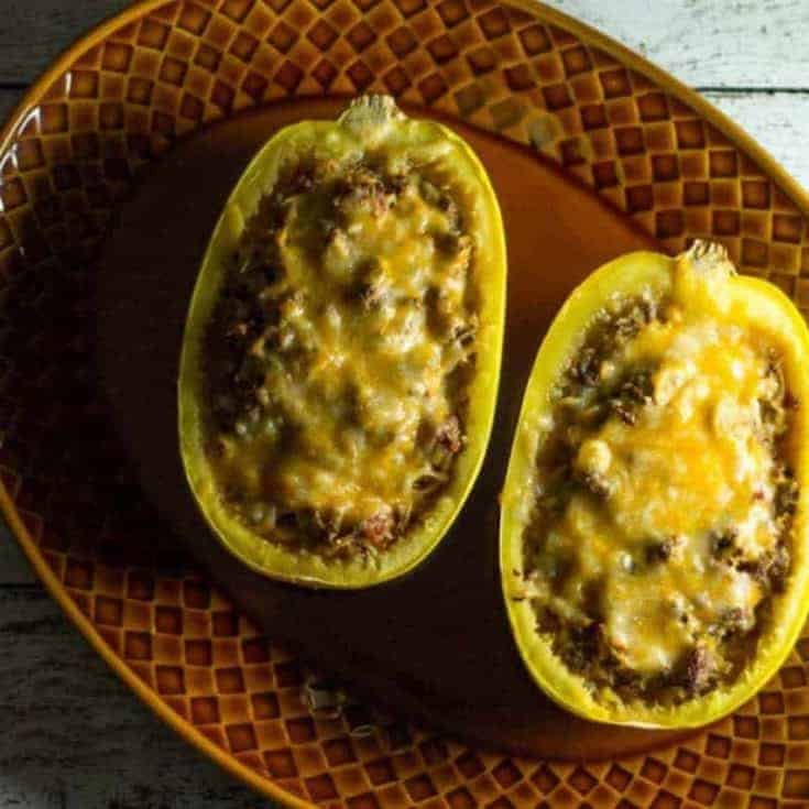 Chili Cheese Stuffed Spaghetti Squash Recipe - Keto