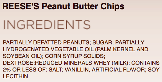 Ingredients Reese's Peanut Butter Chips