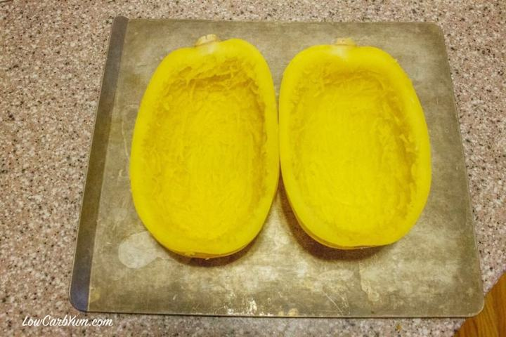 Roasting squash for chili cheese stuffed spaghetti squash recipe