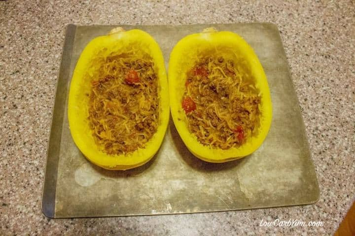 Easy to make chili cheese stuffed spaghetti squash recipe