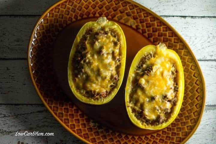 Easy chili cheese stuffed spaghetti squash recipe