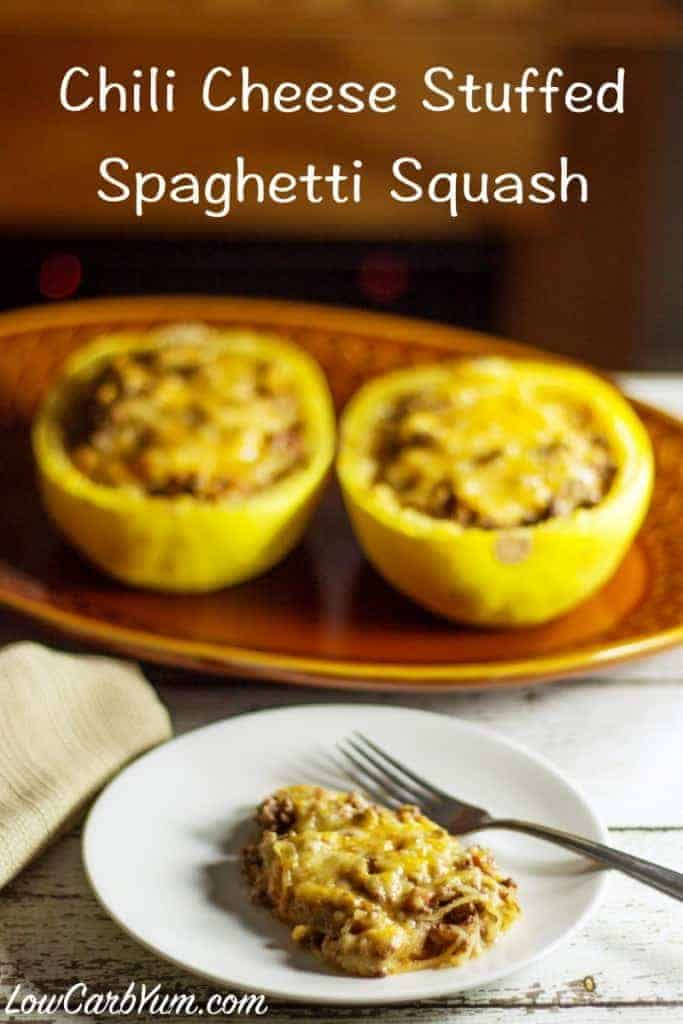 ... with cheese in this chili cheese stuffed spaghetti squash recipe