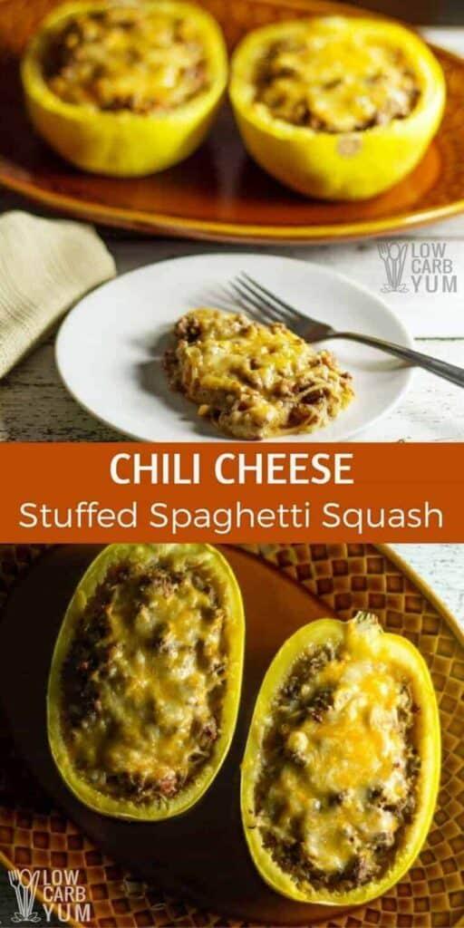 Low carb chili cheese stuffed spaghetti squash recipe