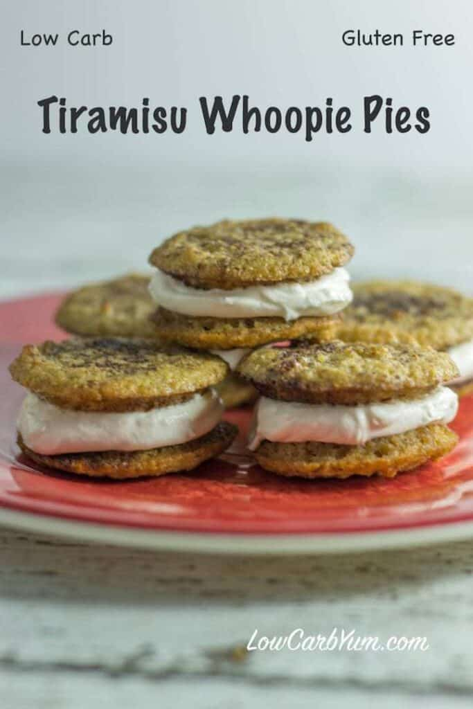 A low carb gluten free tiramisu whoopie pies recipe to give you a little pickup during the day. The keto cookies have a creamy filling spiked with espresso and rum.