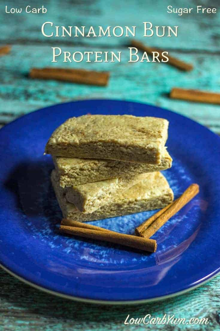 This low carb Quest bars recipe is an easy way to make your own delicious cinnamon bun flavored protein bars. It takes a few ingredients and less than ten minutes. #lowcarb #sugarfree #proteinbars #vitafiber | LowCarbYum.com