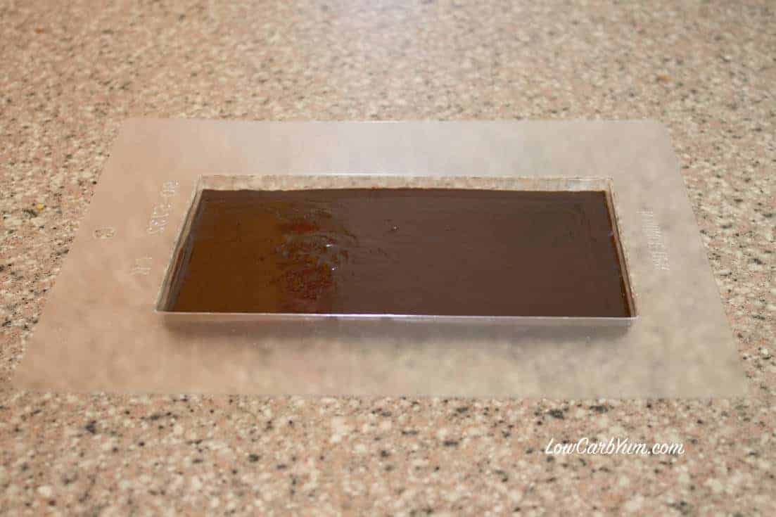 homemade low carb chocolate with stevia bar in mold