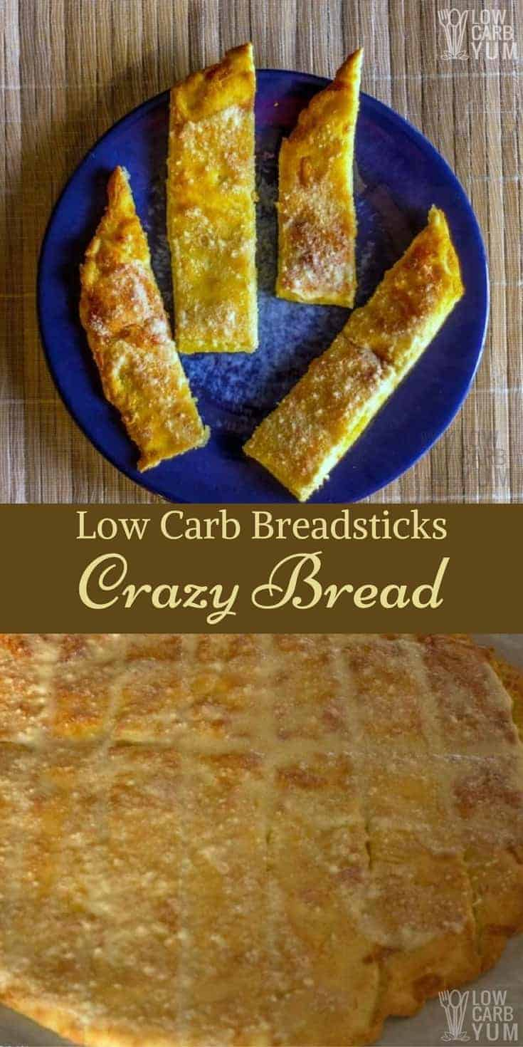 These cheesy garlic low carb breadsticks are a gluten free copycat of Little Caesars Crazy Bread recipe. So good, they won't miss the carbs. | LowCarbYum.com