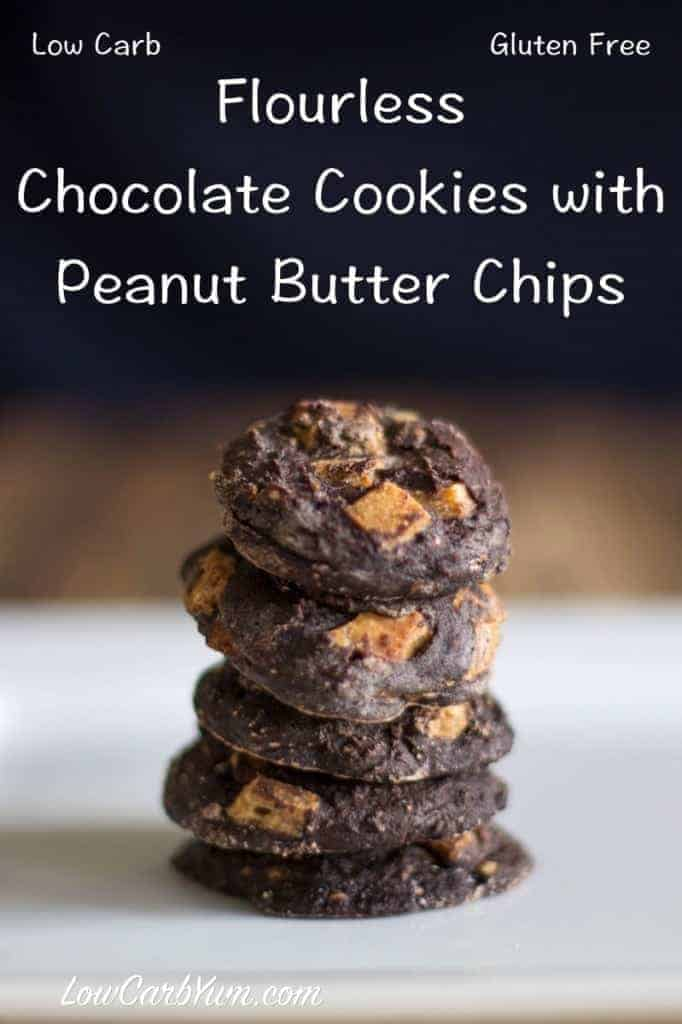 These flourless low carb chocolate cookies are gluten free, nut free, and dairy free. This recipe adds sugar free peanut butter or chocolate chips.