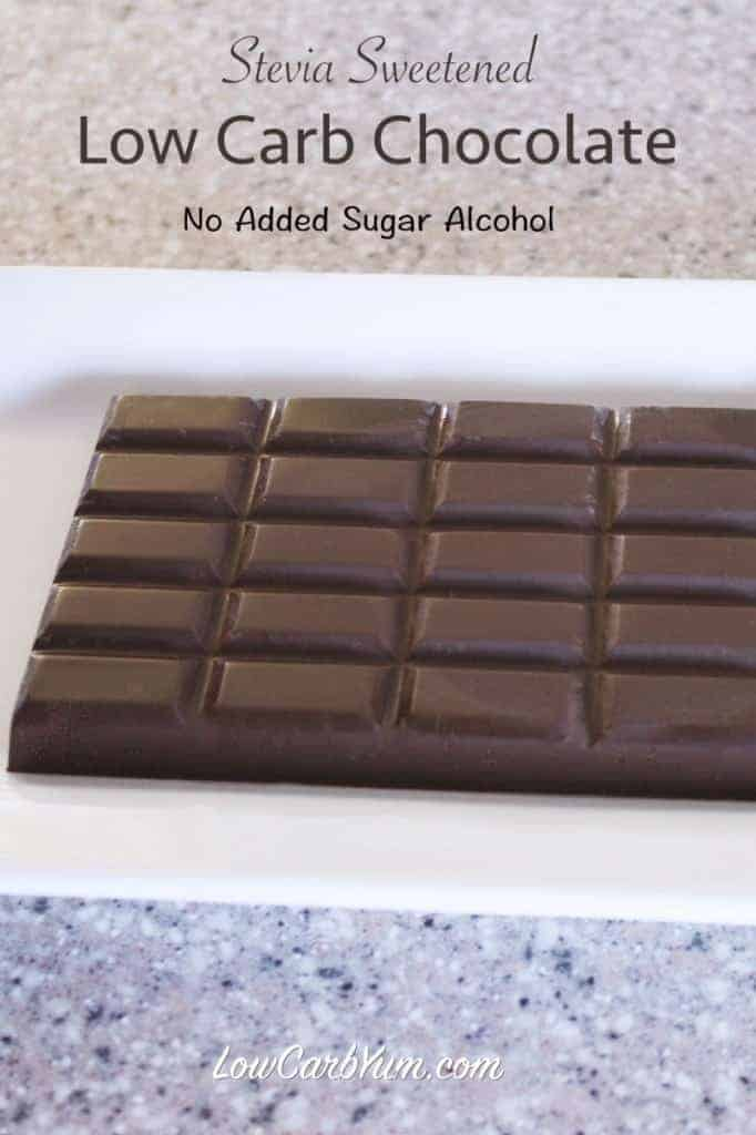 A sugar free chocolate recipe made with stevia. It contains no added sugar alcohol. It uses natural sweeteners along with cocoa butter and unsweetened cocoa.
