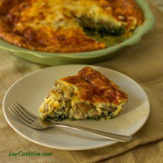 Spinach Mushroom Cheese Quiche (Crustless)