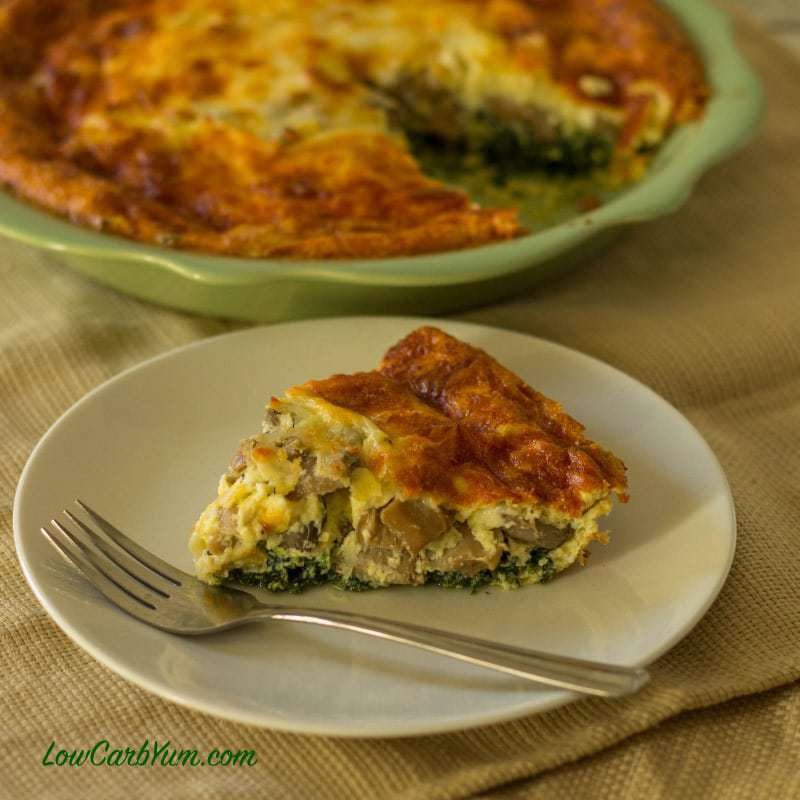 Spinach Mushroom Cheese Quiche (Crustless) | Low Carb Yum