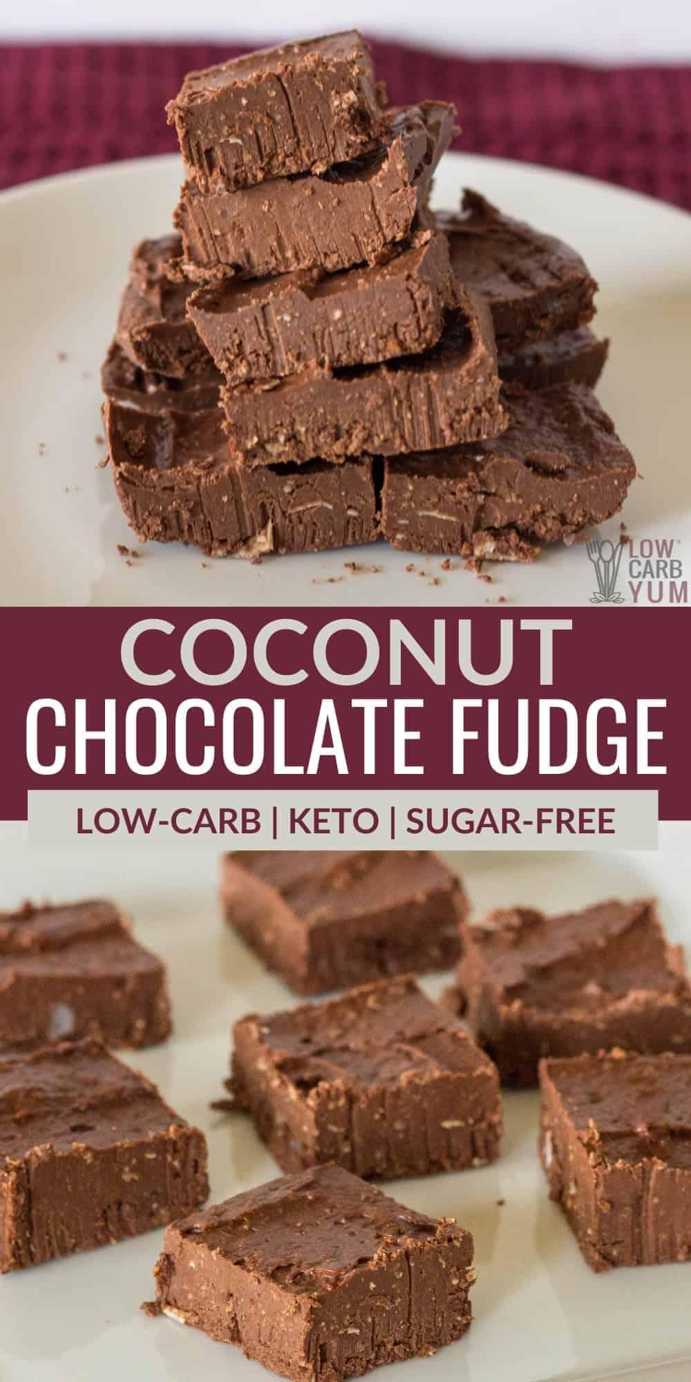 coconut chocolate fudge pinterest image