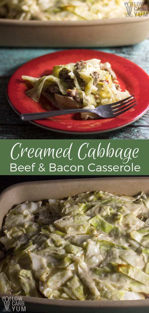 A low carb creamed cabbage ground beef casserole with bacon. The cream sauce uses Cajun spices that enhances the flavor and gives a Southern flare. #lowcarb #keto #lowcarbmeal #ketomeal #lowcarbdinner #ketodinner #lowcarbcasserole #casserole #ketocasserole #Atkins #weightwatchers | LowCarbYum.com