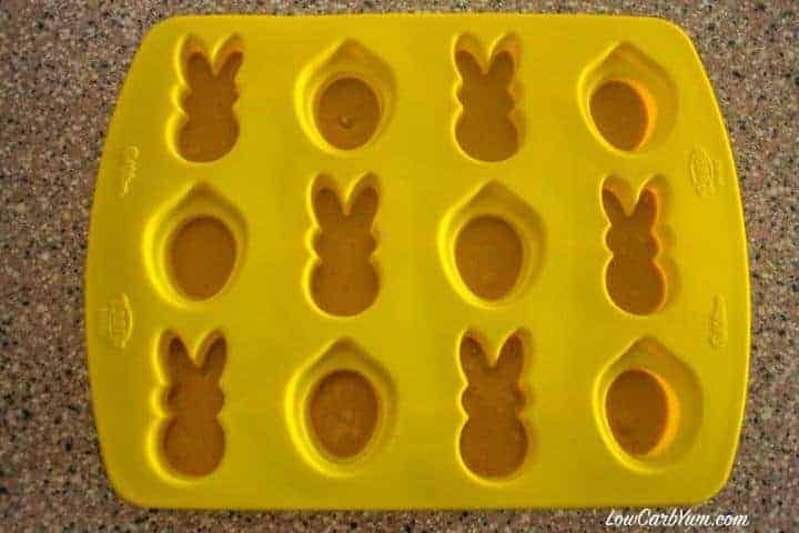 filling peanut butter chocolate candy molds